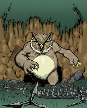 Adequate commoners take on an owlbear